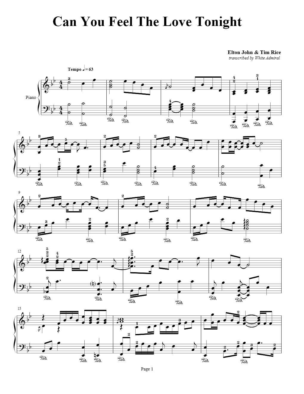 Can You Feel The Love Tonight Elton John Tim Rice True Piano Transcriptions