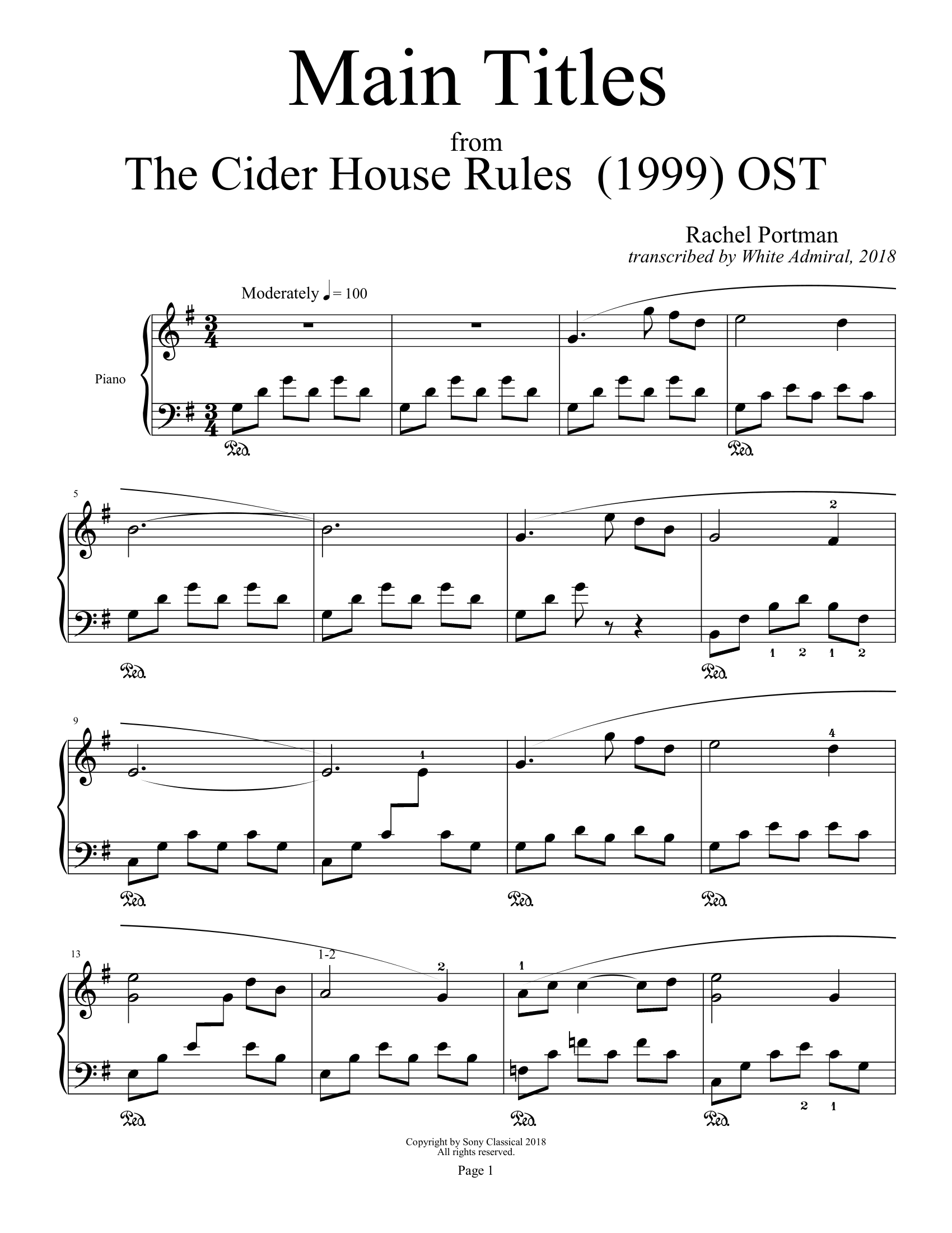 The Cider House Rules Main Titles Rachel Portman True Piano Transcriptions